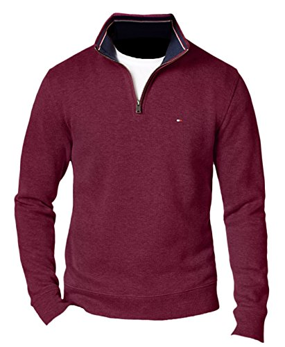 Tommy Hilfiger Men's French Rib Quarter-Zip Sweater, 2XL, Rhubarb - Men's Quarter French Clothing