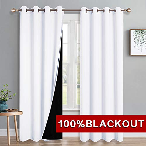 PONY DANCE White Blackout Curtains - Thick 100% Light Block Lined Curtain Drapes for Living Room Thermal Insulated Window Treatment Set for Home Decoration, W 52