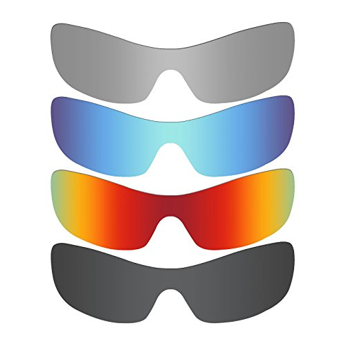 Mryok 4 Pair Polarized Replacement Lenses for Oakley Antix Sunglass - Stealth Black/Fire Red/Ice Blue/Silver Titanium by Mryok