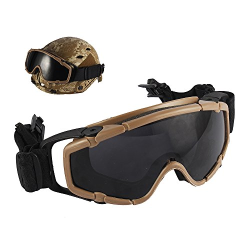 TB-FMA Helmet Goggles, Airsoft Tactical Ballistic Anti-Fog Goggles Military Safety Glasses for Helmets with Side Rails , Dark Earth