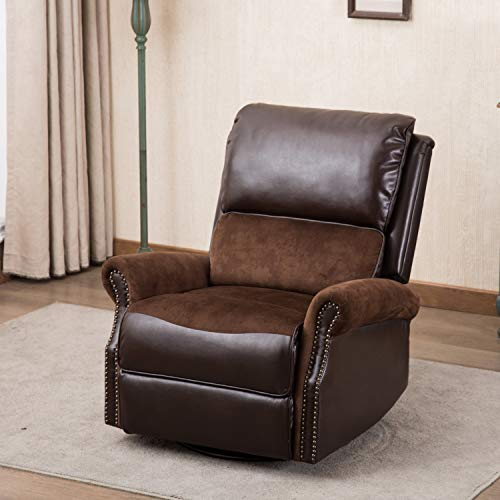 CANMOV Breathable Bonded Leather Swivel Rocker Recliner Chair, Contemporary Design Single Seat Sofa Manual Recliner Chair with Overstuffed Back, Brown ()