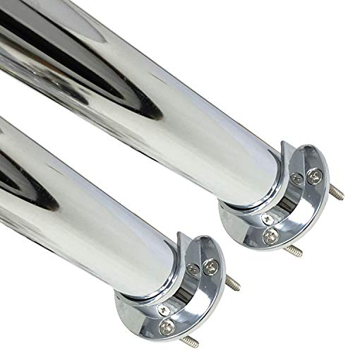 Desunia 72 Heavy Duty Round Closet Rod w/Matching Support Flanges - 1 5/16 Diameter - Polished Chrome Clothes Pole - 2 Rods