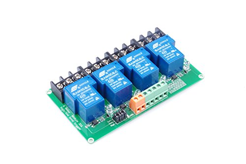 KNACRO 4-Channel DC 24V Relay Module High/Low Level Triggering Optocoupler Isolation Load 30A DC 30V / AC 250V for PLC Automation Control, Industrial System Control, Arduino (DC 24V)