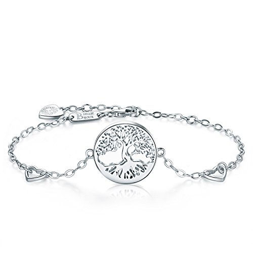 Bracelet Link Jewelry Heart (Billie Bijoux Women 925 Sterling Silver Tree of Life Heart Charms Adjustable Bracelet White Gold Plated Best Gift for Graduation, Christmas, Mother's Day and Birthday)