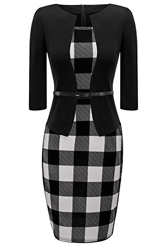 HIKA Women's Long Sleeve Plaid Work Business One-Piece Knee Length Pencil Dress X-Large - Plaid Piece One
