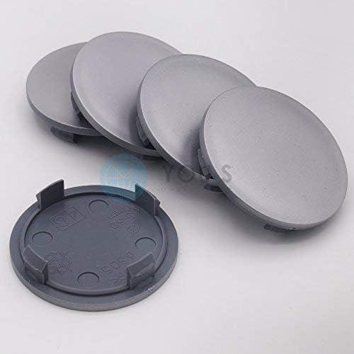 5 x Nabenkappen Nabendeckel Felgendeckel 64,0-57,0 mm silber