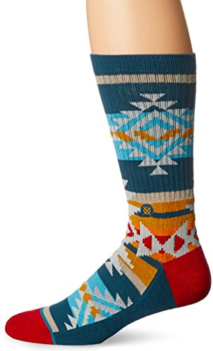 Stance Men's Table Mountain Tribal Arch Support Classic Crew Sock, Green, Sock Size: 10-13/Shoe Size:9-11