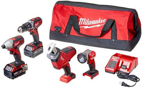 Milwaukee 2695-24 M18 18V Cordless Power Tool Combo Kit with Hammer Drill, Impact Driver, Reciprocating Saw, and Work Light 2 Batteries, Charger, and Tool Case Included