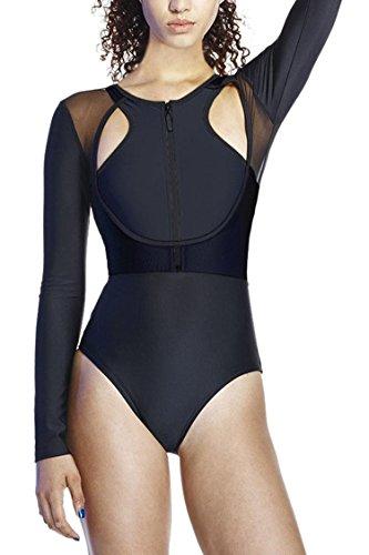 Long Front Sleeved (Kisscy Women Long Sleeve Zip Up Mesh Splice One Piece Rash Guard High Waist Swimwear M)
