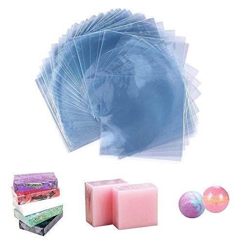 Soap Wrappers Shrinkable 500 PCS 6X6 inch Heat Shrink Wrap Bags Soap Wrapping Supplies for DIY Bath Bombs, Homemade Gift Soaps and Makeup Bottles