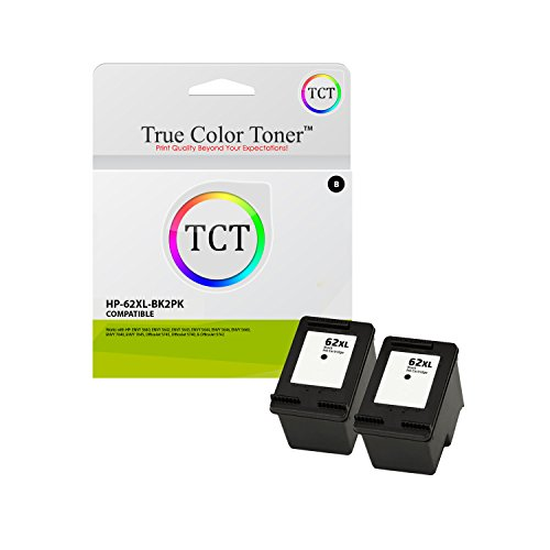 True Color Toner 62XL Black 2 Pack High Yield Compatible Ink Cartridge C2P05AN 62 XL Replacement for HP Envy 5640 5642 5643 5644 5646 5660 7640 7645 OfficeJet 5745 5740 5742 5743 Printers (600 Pages)