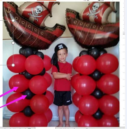 PartyWoo Pirate Balloons 43 pcs 12 inch Black Balloons Red Balloons Black and Red Balloons Latex for Pirate Party, Pirates Caribbean Party, Including Pirate Balloons Mylar Balloons Pirate Banner