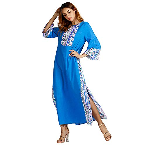 Muslim Fashion Womens KIKOY Ethnic Style Print Long Sleeve Party Maxi Dress Robe -