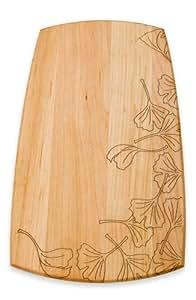 J.K. Adams 9-Inch-by-5-Inch Engraved Maple Wood Plate, Gingko Leaves