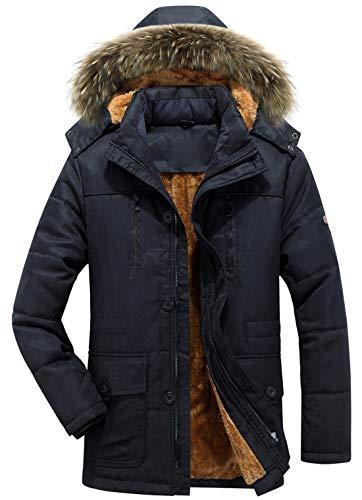 (chouyatou Men's Winter Detachable Hooded Frost-Fighter Sherpa Lined Windbreaker Puffer Coat (Medium, 17Black))