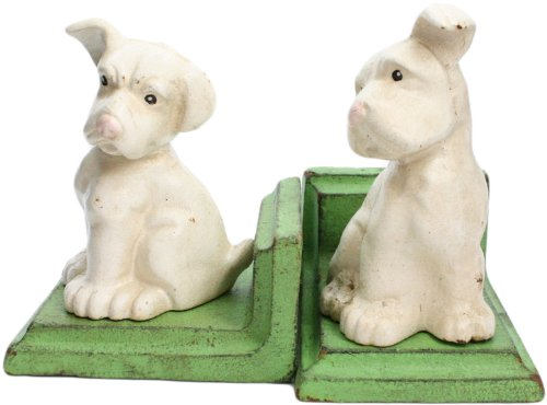 HomArt White Puppy Bookend Set, Made of Cast Iron, Set of 2, White (Puppy Bookends)
