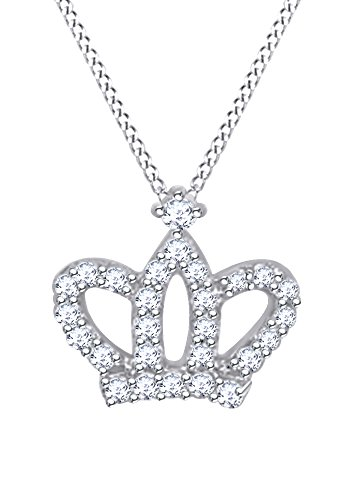 Christmas Holiday Sale Queen Crown Pendant Necklace In 10k White Gold With 0.2 CT Round White Natural Diamond