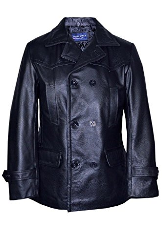 Men's Black German Naval Dr Who Cow Hide Leather Pea Coat XL (Breasted Peacoat Leather Double)