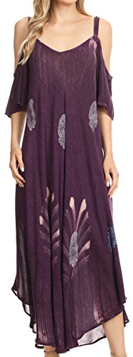 Smock Maxi (Sakkas 18155 - Renata Women's Cold Shoulder Maxi Caftan Dress Sundress Flare Stonewashed - Purple - OS)