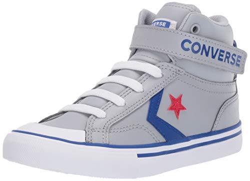 Converse Boys Kids' Pro Blaze Strap Leather High Top Sneaker, Wolf Grey/Blue/Enamel Red 3 M US Little ()