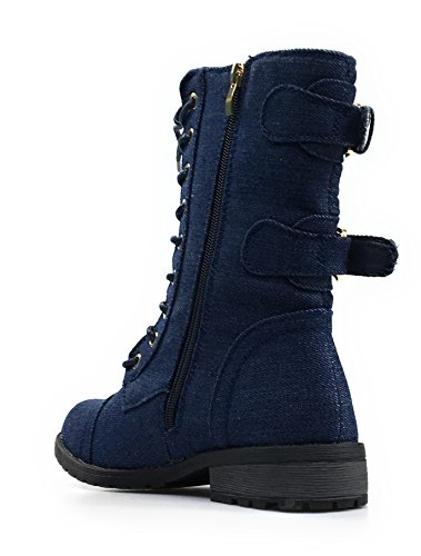 Forever Link Womens Denim Buckle and Zipper Accent Combat Lace Up Boots Mango-79 Dk.blue Denim DHIUlEVs3O