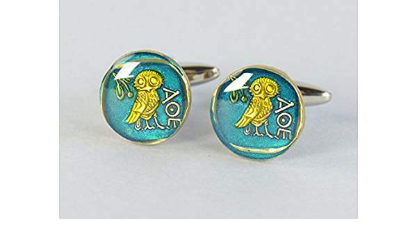 Coin Painted Cufflinks.Drachma Greece.Owl cufflinks Coin Collector Gifts,Dad Coin Gift,Upcycled,mens gift accessories jewelry