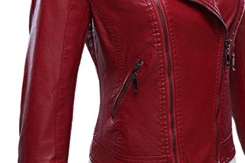 Tanming Women's Faux Leather Collar Moto Biker Short Coat Jacket (Medium, W-Red6) by Tanming (Image #4)