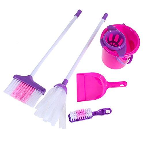 Chinatera Kids Interesting Cleaning Play Tool Set Girls Housekeeping Pink Sweep Educational Playhouse ()