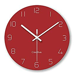 FlorLife Silent Quartz Decorative Wall Clock Non-Ticking Vintage Vintage Style Round Battery Operated Glass Clock for Living Room Kitchen Home Office - Red
