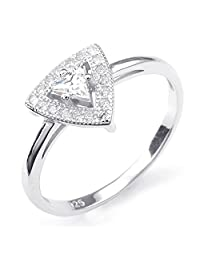 Konov Jewelry 925 Sterling Silver Cubic Zirconia Classic Triangle Womens Ring, Silver