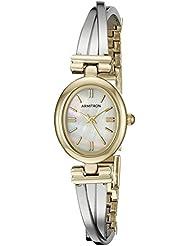 Armitron Womens 75/5325MPTT Two-Tone X-Shaped Bangle Watch