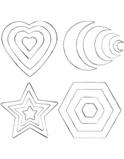 DOITOOL 16Pcs Dream Catcher Rings 4 Size Metal Hoops Heart Moon Star Hexagon Shape Macrame Creations Loops for DIY Crafts Wall Hanging Wreath (Silver)