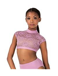 Child Lace Cap Sleeve Dance Crop Top,LC1025