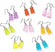 Auch 8 Pairs Bear Earring Set, Colorful Resin Candy Cartoon Bear Earrings Cute