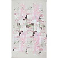 Carpet/Runner 35% COTTON 65% POLYESTER (31.5 x 59.1) Pink White Green Black Brush Touch Abstract Moden, Home Decoration Non-slip Antibacterial Machine Washable Area Rug Made in Turkey