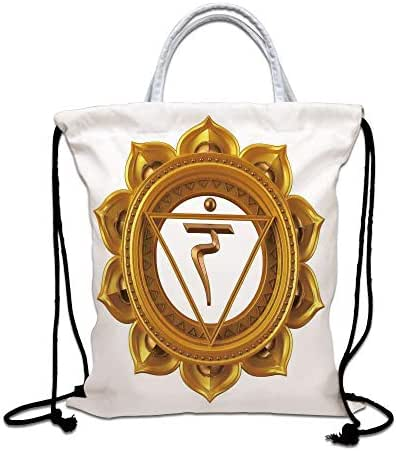 Chakra Decor Drawstring Backpack,Chakra Symbol in Flower Rounded Original Design Spiritual Power Life Force Image Lightweight Gym Sackpack Tote Bags for Gym Hiking Travel Beach,Gold