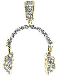 10K Gold Head Phone Pendant DJ Charm Real Diamonds 3/4ctw 37mm Tall