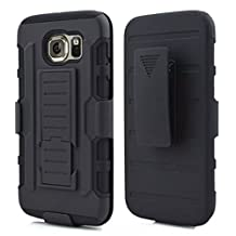 Galaxy S6 Edge Case,Stanlance Swivel Belt Clip Holster Shell Cover with Kickstand [MILITARY GRADE] Heavy Duty Sturdy Rubber Armor Case for Samsung Galaxy S6 Edge