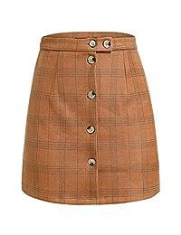 Simplee Women's Plaid High Waist A Line Button Bodycon Mini Skirt