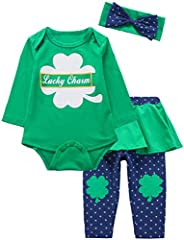 Baby Girls St Patrick's Day Outfit Set Clover Top Stripe Pants with Head