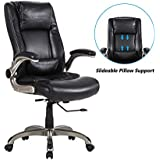 LCH Executive Office Chair - Ergonomic Bonded Leather Office Chair with Flip-up Arms,Slideable Head and Back Lumbar Support Computer Task Desk Chair