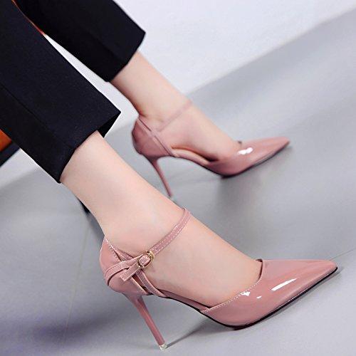 SHOESHAOGE Zapatos De Mujer Primavera Mostrar Una Palabra Hueca Delgada Correa De Hebilla Señoras Hueco Charol Zapatos De Tacón Finos Tacones Boca De Luz Eu38 Color sólido