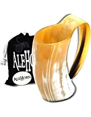 AleHorn Original Handcrafted Authentic Viking Drinking Horn Tankard for Beer Mead Ale - Genuine Medieval Inspired Stein Mug Food Safe Vessel with Handle