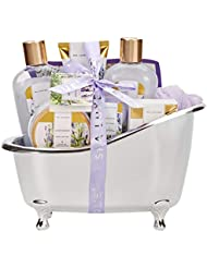 Spa Luxetique Spa Gift Basket Lavender Fragrance, Luxurious 8pc Gift Baskets for Women, Cute Bath Tub Holder - Best Holiday Gift Set for Women Includes Shower Gel, Bubble Bath, Body Butter & More.