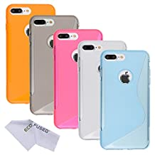 Case Bundle for Apple iPhone 7 Plus including 5 Flexible TPU Covers with S Line Design - Slim Fit - Protection from Scratches - Eco-Fused Microfiber Cleaning Cloth Included (iPhone 7 Plus, 5 Pack / Colors)