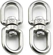 GBSTORE 2 Pcs M5 304 Stainless Steel Double Ended Swivel Eye Hook Eye to Eye Swivel Shackle Ring Connector