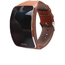 Dreaman Genuine leather Watch Wrist Strap Band For Samsung Gear S SM-R750 Smart (Brown)