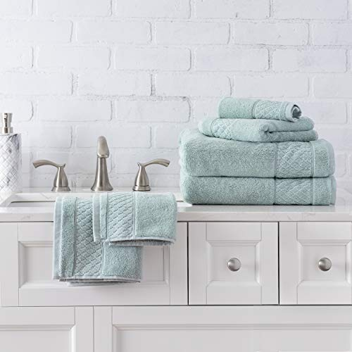 Welhome Hudson 100% Pure Organic Cotton 6 Piece Luxury Towel Set (Mineral) Durable - High Absorbency - Hotel Spa Bathroom Towel Collection - 651 GSM - 2 Bath - 2 Hand - 2 Wash Towels