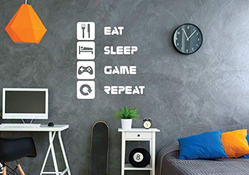 (Gamer Wall Decal - Eat Sleep Game Repeat - Vinyl Decoration for Boy's Bedroom, Playroom or Game Room)