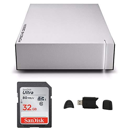 LaCie 8TB Porsche Design P'9233 USB 3.0 Desktop Hard Drive for Mac and PC + SanDisk Ultra 32GB 80MB/s SD Card + MMC MultimediaCard & SD Secure Digital Reader USB Bundle